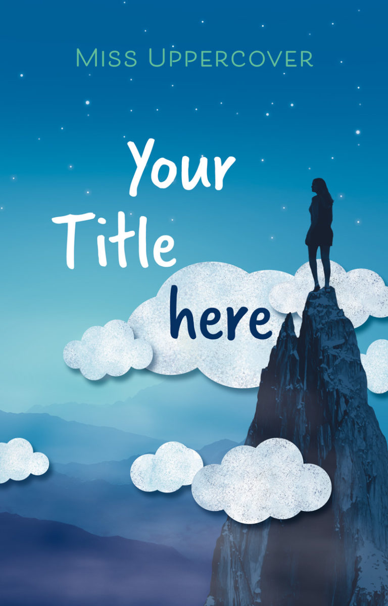 Premade Cover mit Maedchen auf Berg umgeben von Wolken – Jugendbuch
