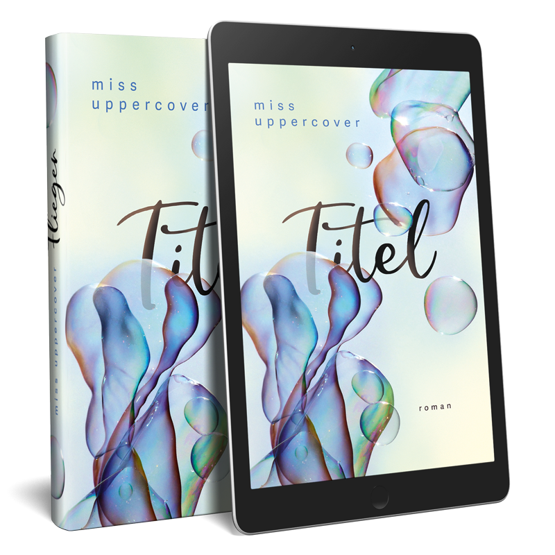 Premade ebook und Buchcover mit fliegenden Seifenblasen in moderner Pastell Farbigkeit