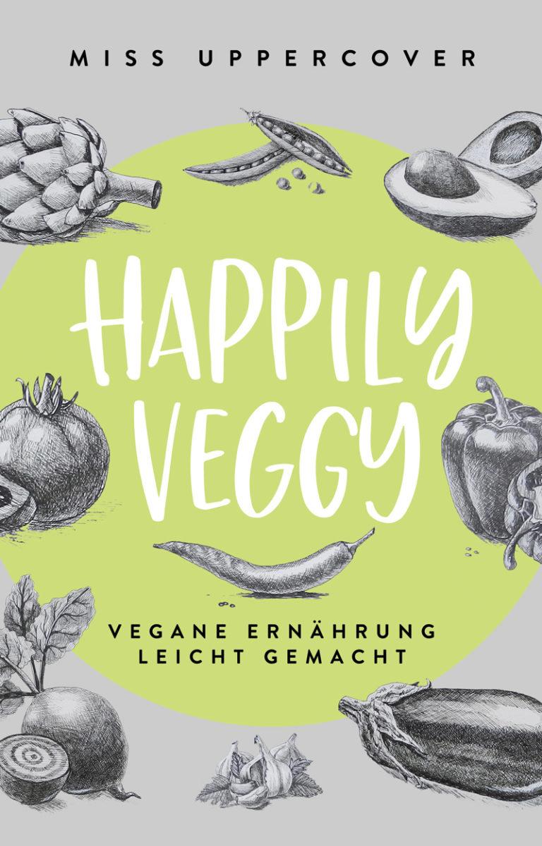 Premade Buchcover für vegetarisch oder veganes Kochbuch mit grünem Kreis